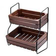 New 2 Tier Fruit Basket Stand Wood Crate Metal Frame Tiered Countertop  Storage