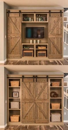 Barn Door Projects that Will Make You Want to Remodel Bookshelves and sliding-door entertainment center. Old style stain techniqueBookshelves and sliding-door entertainment center. Old style stain technique Diy Décoration, Diy Tv, Interior Barn Doors, Basement Remodeling, Remodeling Ideas, Bedroom Remodeling, Remodeling Companies, My New Room, My Dream Home