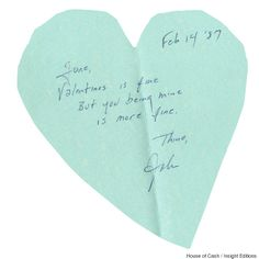 Johnny Cash's 1987 valentine to June Carter. Short 'n sweet <3 | Credit: House Of Cash