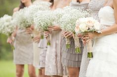 We love the rule breaking trend of putting your bridesmaids in light beige, cream, or white dresses!
