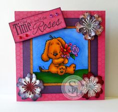 "Designed by Jodi Clark.  Image is ""Friend"" from Mulberry Wood stamp collection. Colored with Spectrum Noir markers-  Dog - GB11, GB7, GB9, GB5 Nose/paws - IG10, IG6, IG4, IG3 Flowers:  Red-DR7, DR6, DR3, CR7, CR5   Pink-BP7, BP5, BP3  Purple-HB3, HB2, PL2, PL1  Leaf - JG6, JG3, LG5, CG3  Flower center, GP9, GP5, CT2, CT2, LY3  Grass - JG6, JG3, LG5, CG4  Sky - TB5, TB4, TB3, TB1.  #spectrumnoir #challenge #crafting"