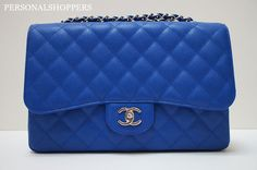 ab1a9c817d95 ELECTRIFYING CHANEL 10C BLEU ROI SHW CAVIAR LEATHER JUMBO FLAP BAG NWT |  eBay