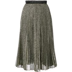 Loyd/Ford pleated glitter skirt (30.975 RUB) ❤ liked on Polyvore featuring skirts, metallic, knee length pleated skirt, metallic skirt, glitter skirt, pleated skirts and pleated skirt