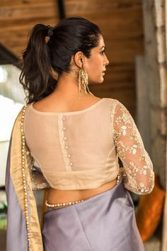 Gold tissue sheer back blouse, net sleeves with work #blouse #houseofblouse