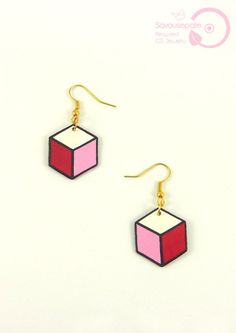 ROSALIE geometric recycled CD earrings | White, candy pink, fushia pink and black hexagons | Jewelry by Savousepate - pinned by…