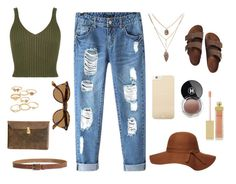 """""""Ripped jeans+army green crop top="""" by sagajulias on Polyvore"""