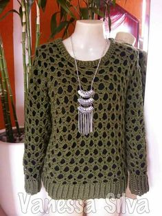 Winter Blouses, Crochet Clothes, Knitwear, Ideias Fashion, Crochet Patterns, Stylish, Sweaters, Crochet Tops, Addiction
