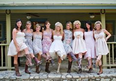 Miranda Lambert Wedding...Bridesmaids in cowboy boots. (Photo credit: Robert Evans, robertevans.com)