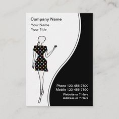 Fashion Business Cards Fashion business cards with chic fashion lady wearing a damask dress and text layout you can customize on a pink white and black background. Stylish business card that is distinctive and fresh. Best business cards for themes related to fashion boutique , modeling, beauty, or use this for a hair or nail salon. #BusinessCard Fashion Business Cards, Black Business Card, Cool Business Cards, Boutique Clothing, Fashion Boutique, Boutique Nails, Text Layout, Model Outfits, Black Backgrounds