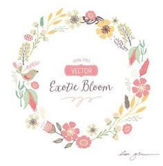 FREE Vector Wreath Clip Art. So lovely. Her hand drawn clip art is divine.