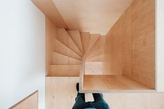 Image 31 of 43 from gallery of IST-Family House / JRKVC. Photograph by Peter Jurkovič Timber Staircase, Stair Handrail, Railings, Small Cottage Homes, Cottage House, Tiny House, Stair Storage, House Stairs, Small House Design