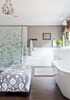 Greige Bathroom, White Planked Wall, Blue Toned Tile Shower, dark wooden floors and side of tub - math's Bathroom Layout, Small Bathroom, Bathroom Ideas, Bathroom Things, Bathroom Beach, Bathroom Goals, Bathroom Inspo, Bathroom Interior, White Plank Walls