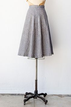 vintage 1940s silver blue chevron skirt