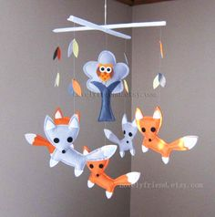 "Baby Mobile - Nursery Mobile - Forest fox crib Mobile - ""Orange and Grey Foxes Playing with Leaves"" - Crib Mobile (Custom Color Available)"