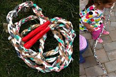 Awesome idea for discussing what to do with old plastic bags as well as activities designed to encourage students to stay fit. Plastic Bag Jump Rope - http://www.pbs.org/parents/crafts-for-kids/plastic-bag-jump-rope/