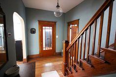 Love the front door! Stratton Blue with wood trim Benjamin Moore