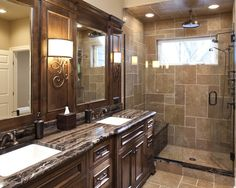 Solid Surface Bathroom Countertops Design, Pictures, Remodel, Decor and Ideas - page 65- tiled ceiling, like the pattern & color of tiles.  Continues with flooring.