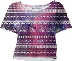 Aztec White Galaxy Purple Sleeved Crop Top - Available Here: http://printallover.me/products/0000000p-aztec-white-galaxy-purple-7