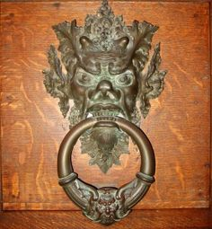 Close-up of one of the two grotesque style door knockers at Searles Castle in Massachusetts. Knobs And Knockers, Knobs And Handles, Old Door Knobs, Great Barrington, Gilded Age, Antique Hardware, Types Of Art, Candle Sconces, Two By Two