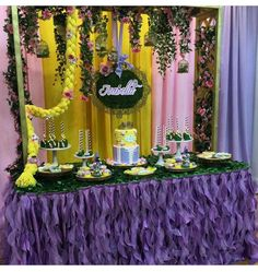 Here's a look at Isabella's dessert station. Table and linen from venue… Rapunzel Birthday Cake, Rapunzel Cake, Tangled Birthday Party, Disney Princess Birthday, Cake Table Birthday, Birthday Party Desserts, Birthday Party Centerpieces, Birthday Parties, 3rd Birthday