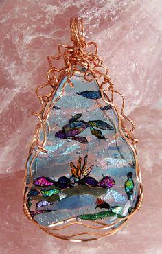 Ocean mini pendant, wrapped w/square copper wire