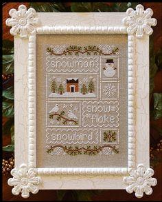 Country Cottage Needleworks Snow Sampler - Cross Stitch Pattern. Snowman, Snowflake, Snowbird.
