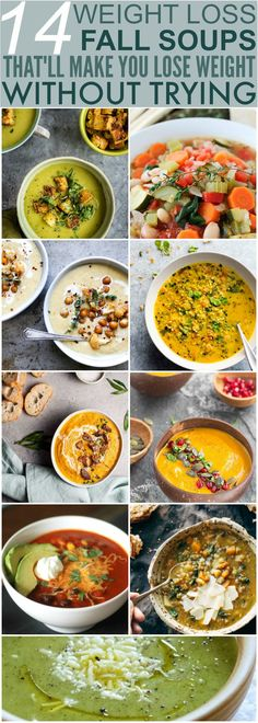 14 Healthy Soup Recipes Perfect for Eating During Fall These 14 Soups Are Perfect For Fall Weather! I love that they are healthy and satisfying without the normal guilt associated with yummy food! Healthy Soup Recipes, Diet Recipes, Healthy Snacks, Healthy Eating, Cooking Recipes, Dinner Healthy, Weightloss Soup Recipes, Healthy Fall Soups, Clean Recipes