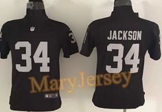 """$23.88 per one, welcome email """"MaryJersey"""" at maryjerseyelway@gmail.com for Nike Raiders 34 Bo Jackson Black Team Color Youth Stitched NFL Elite Jersey"""