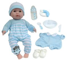 Ring Pacifier JC Toys  3-Piece BLUE Accessory Gift Set includes Bottle