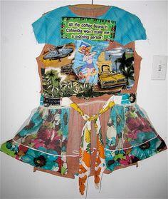 Frida's FIESTA Folk Frock Wear TUNIC Upcycled Wearable Art  by mybonny