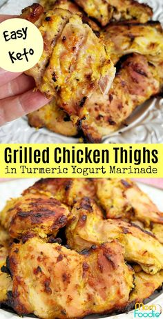 Grilled Chicken Thighs in Turmeric Greek Yogurt Marinade slow grilled over coals. Great recipe for Keto dieters Grilled Chicken Thighs in Turmeric Greek Yogurt Marinade slow grilled over coals. Great recipe for Keto dieters Greek Yogurt Chicken, Greek Yogurt Recipes, Turmeric Recipes Chicken, Chicken Recipes, Grilled Chicken Thighs, Boneless Chicken Thighs, Best Low Carb Recipes, Healthy Recipes, Keto Recipes