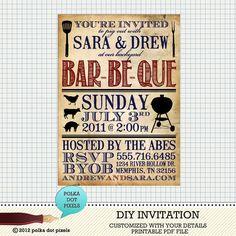 Custom DIY Printable Invitation - BBQ Party Invitation