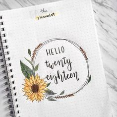 ✨Hello 2018 Year Cover Page Bullet Journal Idea ✨ Bullet Journal September Cover, Bullet Journal Cover Page, Bullet Journal 2019, Bullet Journal Spread, Bullet Journal Ideas Pages, Bullet Journal Inspiration, Book Journal, Journal Quotes, Journals