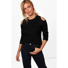 Boohoo Maria Cold Shoulder Rib Knit Jumper ($25) ❤ liked on Polyvore featuring tops, sweaters, sequined top, animal print sweaters, knitwear sweater, wrap sweater and nordic sweater