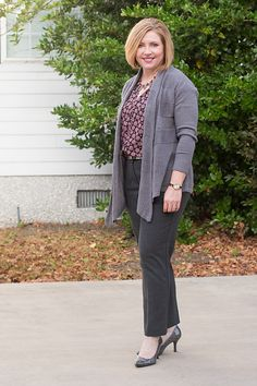 Savvy Southern Chic: Winter greys, grey outfit, cardigan, business attire, work outfit, ankle pants