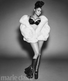 That's a rap: Nicki Minaj posed in a sexy black bra and platform boots with a fur wrap and diamond necklace for the Power Issue of Marie Claire magazine Michael Kors Tote Bags, Cheap Michael Kors, Michael Kors Outlet, Michael Kors Hamilton, Marie Claire Magazine, Trinidad Y Tobago, Continental, Platform Boots, Black Women
