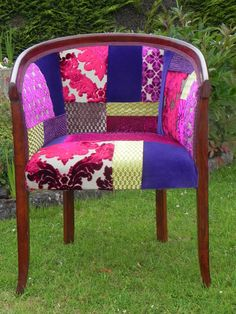 Rich Berry Patchwork Tub Chair By Katie Moore
