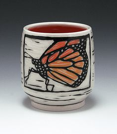 Sgraffito carved Monarch butterfly cup allendesignstudio click now for info. Pottery Mugs, Ceramic Pottery, Pottery Art, Thrown Pottery, Ceramic Techniques, Pottery Techniques, Glazing Techniques, Clay Mugs, Ceramic Clay