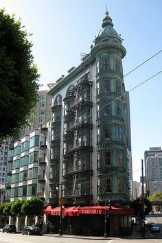 My most favorite building in San Francisco. Sausalito California, San Francisco Vacation, Places In California, Copper Roof, Cafe House, North Beach, Empire State Building, Big Ben, Places Ive Been