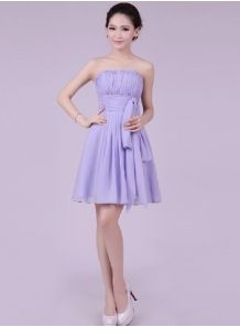 LEYLA - A-line Knee length Chiffon Strapless Chinese Cheap Wedding Party Dress