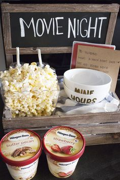 "This movie night date crate is the perfect way to have a date night at home while your little one is asleep! Share some popcorn, a movie and Häagen Dazs®️️ ice cream in these DIY ""yours and mine"" ice cream bowls for a quiet date night at home."
