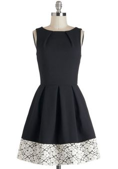Audrey's Top of the A-line Dress in Lace - Mid-length, Black, White, Solid, Exposed zipper, Lace, Pleats, Party, Fit & Flare, Sleeveless, Boat, Pockets, Graduation, Work, Top Rated