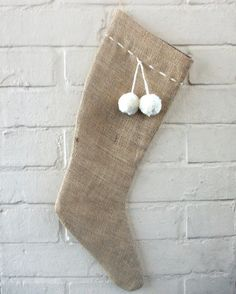 Burlap/Hessian Christmas Stocking with Handmade by HomeDecorLab, $21.00