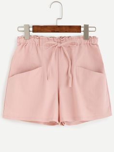SheIn offers Pink Drawstring Pockets Shorts & more to fit your fashionable needs. Loose Shorts, Stretch Shorts, Cute Shorts, Pink Shorts, Casual Shorts, Denim Shorts, Short Skirts, Short Dresses, Shorts With Pockets
