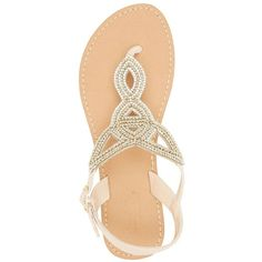 Charlotte Russe Rhinestone-Embellished Looped Thong Sandals (270 ARS) ❤ liked on Polyvore featuring shoes, sandals, flip flops, nude, charlotte russe sandals, charlotte russe shoes, nude strappy shoes, cut out sandals and strappy thong sandals
