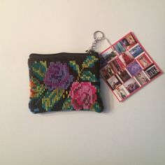 """""""Yob"""" Recycled Textile Pouch w/ Key Ring 5.5""""L x 4.5""""H  Handmade in Guatemala with recycled textiles Ketzali Bags Mini Bags"""