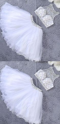 Adorable Two Piece Scoop Short Beaded White Tulle Cocktail/Party Dress A Line Prom Dresses, Quinceanera Dresses, Homecoming Dresses, Cute Dresses, Wedding Dresses, Bridesmaid Gowns, Pageant Dresses, Dress Shorts Outfit, Quince Dresses