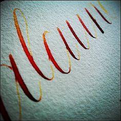 Muestra con nogalina y acuarela líquida. alcuino. Caligrafía. Calligraphy. Esther Gordo.