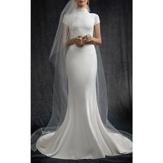 Elizabeth Kennedy Bridal High Neck Cap Sleeve Gown ($4,560) ❤ liked on Polyvore featuring dresses, gowns, white, cap sleeve sheath dress, white bridal gowns, white high neck dress, bridal dresses and white ball gowns
