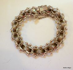 Vintage Sterling Silver Mesh Bracelet Beaded Accent by lauraab51, $65.00